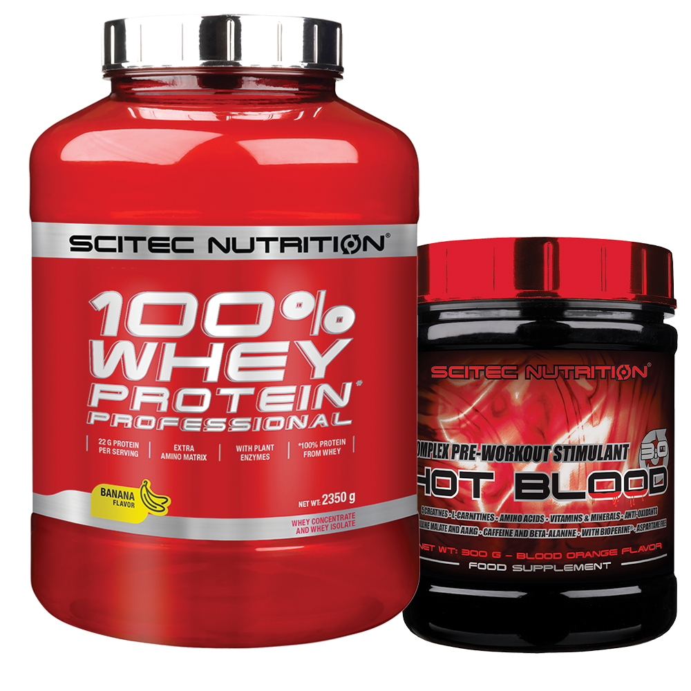 Scitec Nutrition 100% Whey Protein Professional + Hot Blood 3.0 szett